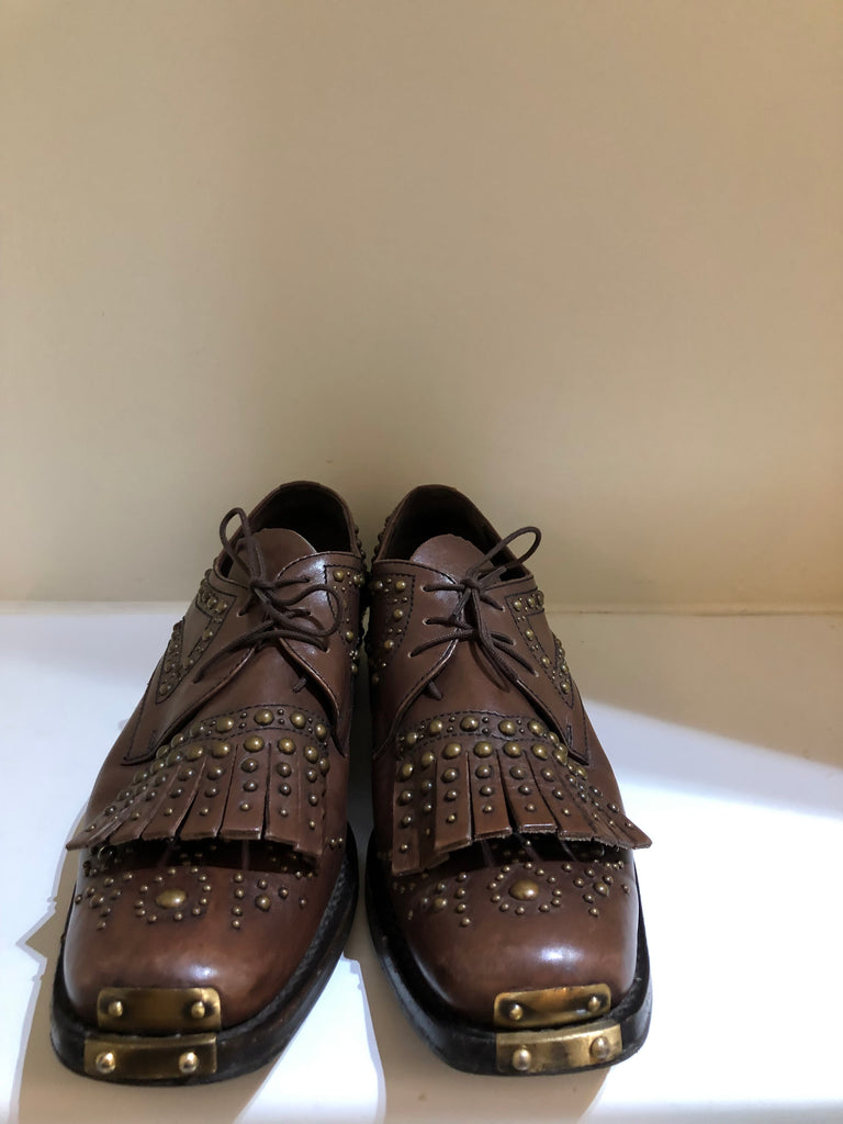 Studded Leather Brogues by Miu Miu
