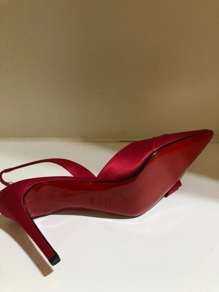 Pose Red Crepe Slingbacks by Christian Louboutin