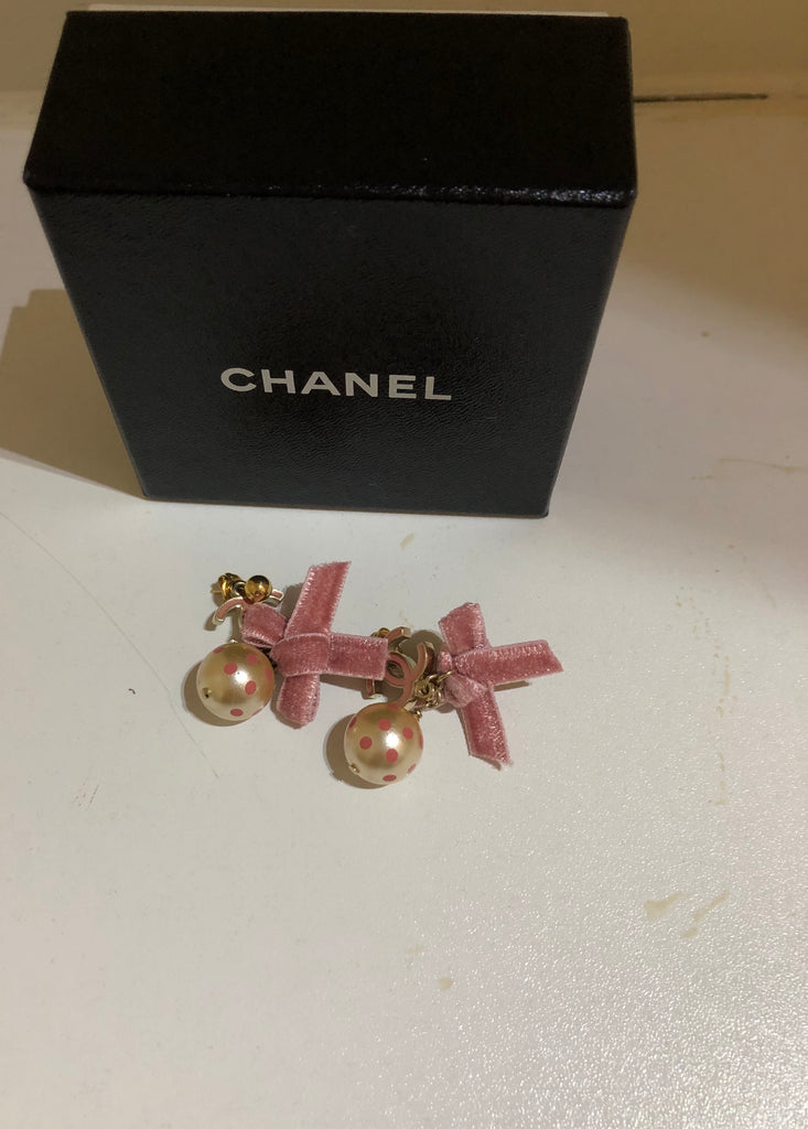 Polkadot Earrings With Bow by Chanel