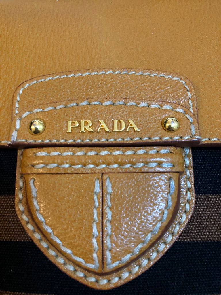 Leather Flap Striped Messenger Bag . by Prada