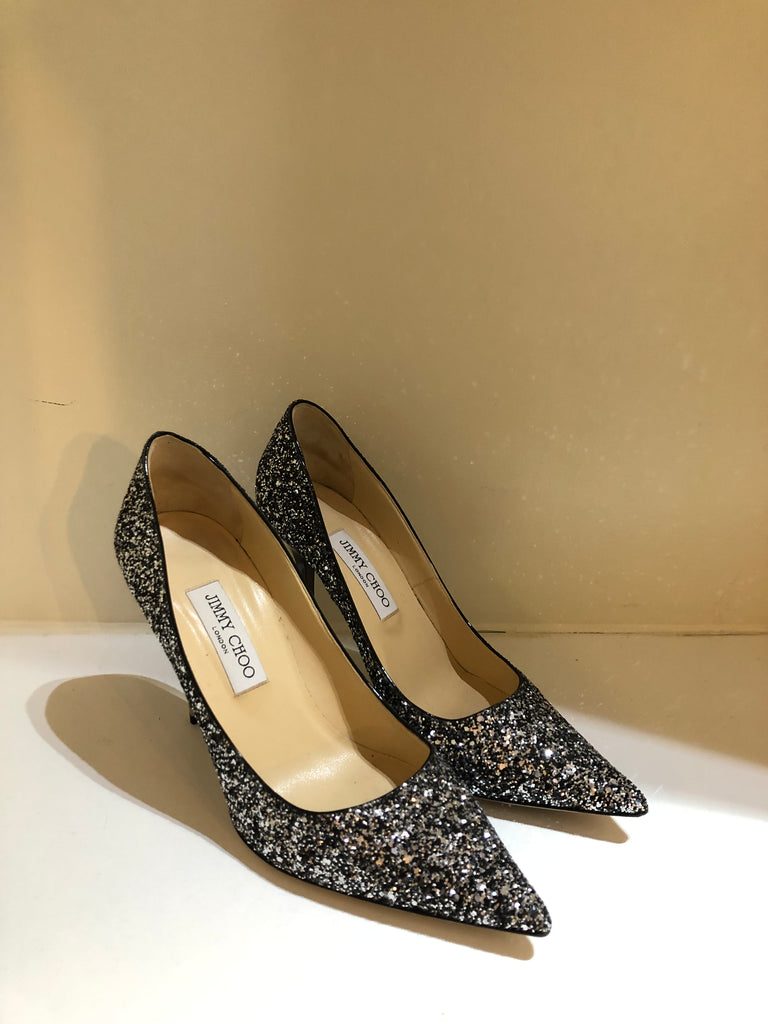 Abel Black & Mist Glitter Heels by Jimmy Choo