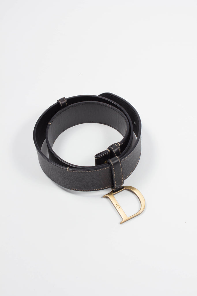 D' Brown Leather Belt by Christian Dior