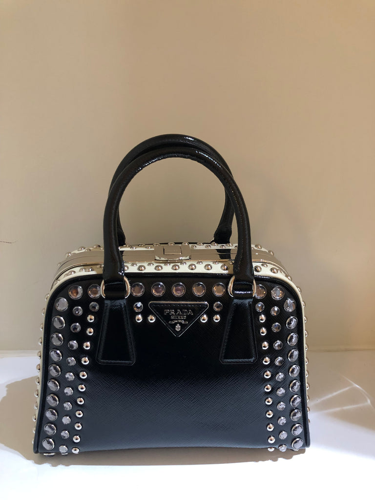 Studded Pyramid Frame Tote by Prada
