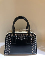 Studded Pyramid Frame Tote by Prada at Isabella's Wardrobe