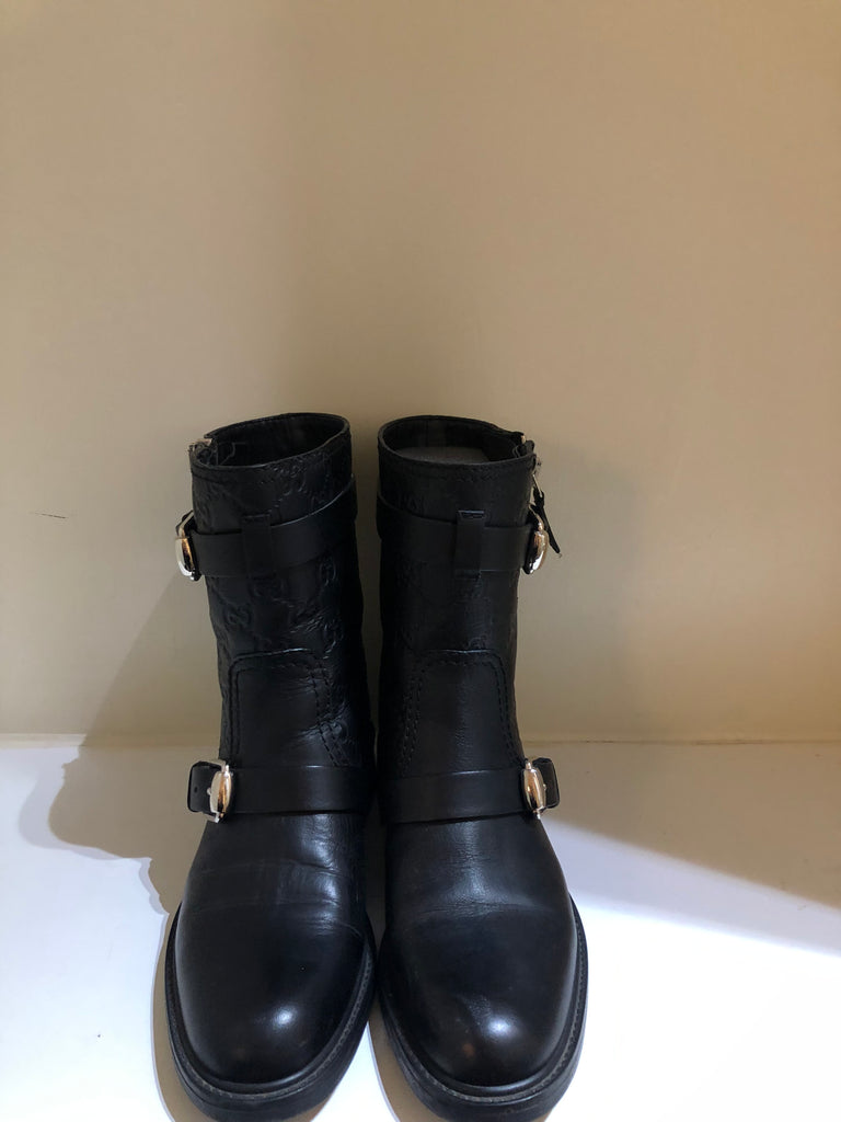 GG Embossed Biker Boots by Gucci