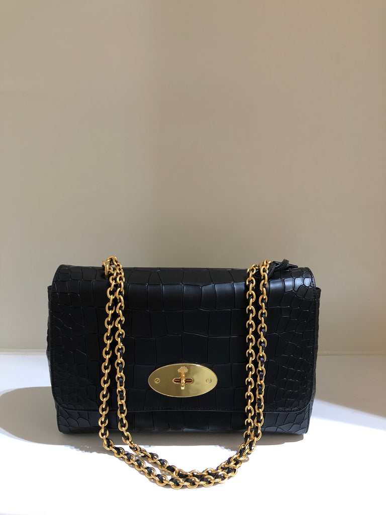 Deep Embossed Croc Medium Lily by Mulberry