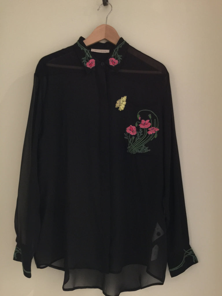 Floral Embroidered Sheer Chiffon Shirt by Christopher Kane