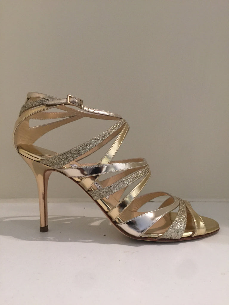 Mirror Glitter Gold Heels by Jimmy Choo