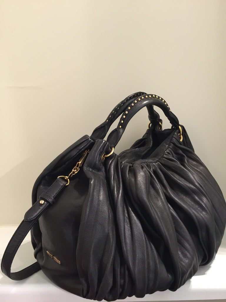 Gathered Leather Hobo Bag by Miu Miu