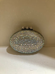 Mina Crystal Embellished Silver Clutch Strass by Christian Louboutin at Isabella's Wardrobe
