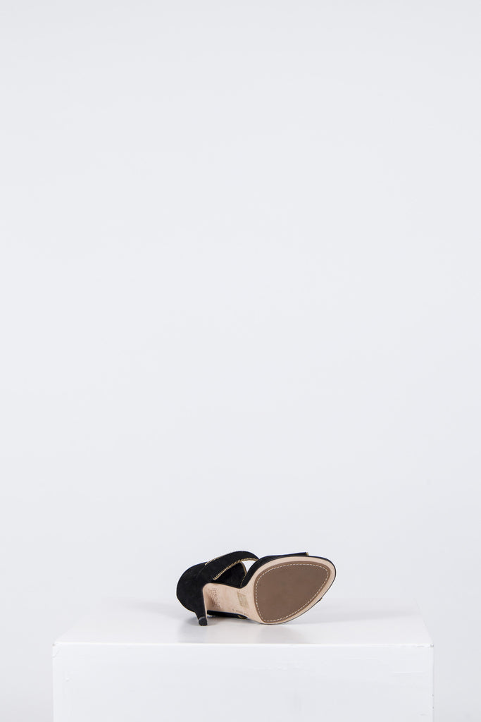 Suede shoes with open toe and zip trim by DKNY