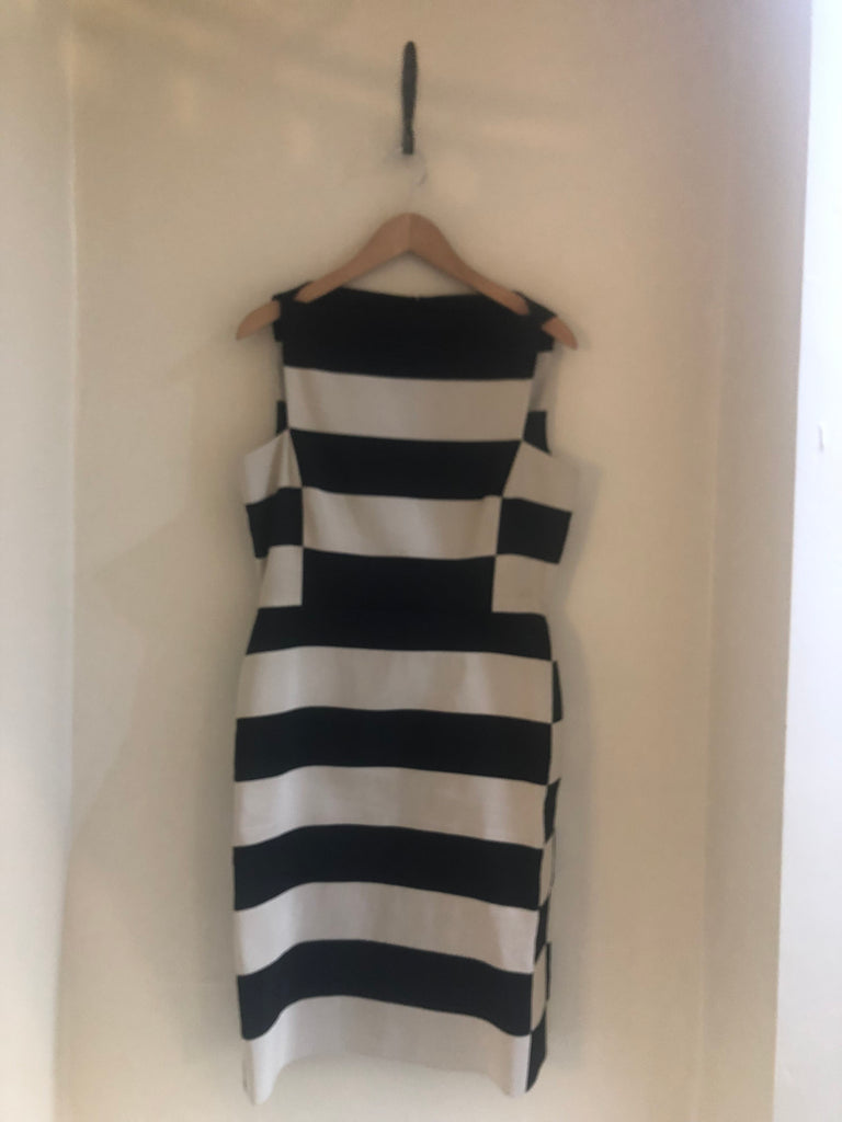 Black and White Striped Sheath Dress by Lanvin