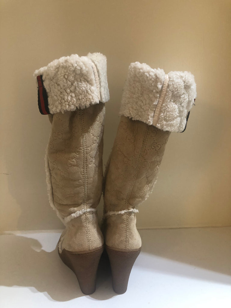 Sheepskin Wedge Boots by Gucci