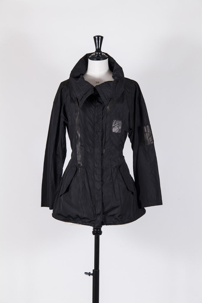 Nylon jacket with leather trim by Prada Sport