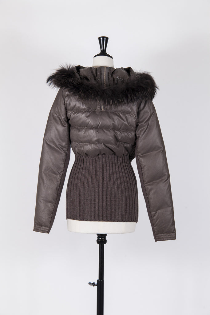 Fur trimmed jacket with knitted panels by Pinko