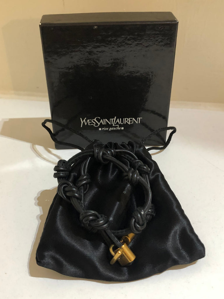 YSL Vintage Leather Bangle by Yves Saint Laurent