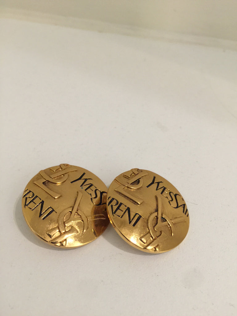 Vintage YSL Disc Clip On Earrings by Yves Saint Laurent