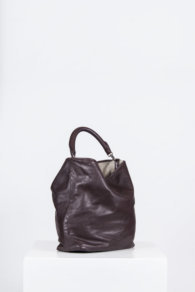 Soft, slouchy leather bag by Jil Sander