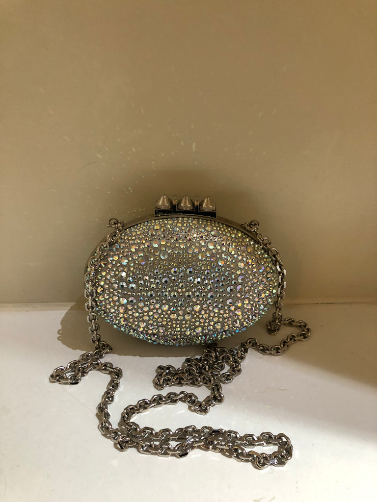 Mina Crystal Embellished Silver Clutch Strass by Christian Louboutin