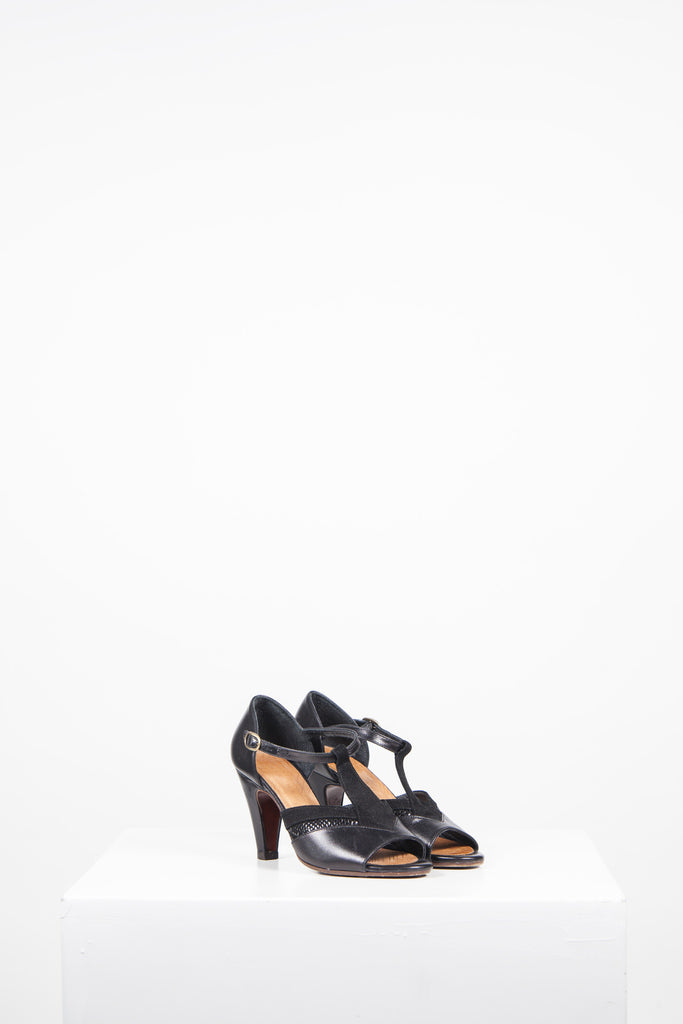 Leather and suede T-bar sandals by Chie Mihara