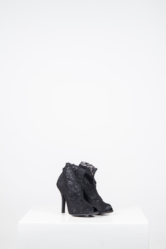 Carine lace peep-toe booties by Dolce and Gabbana