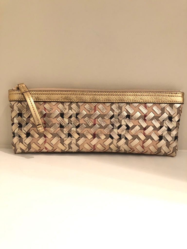 Nova Check and Gold Leather Wristlet by Burberry