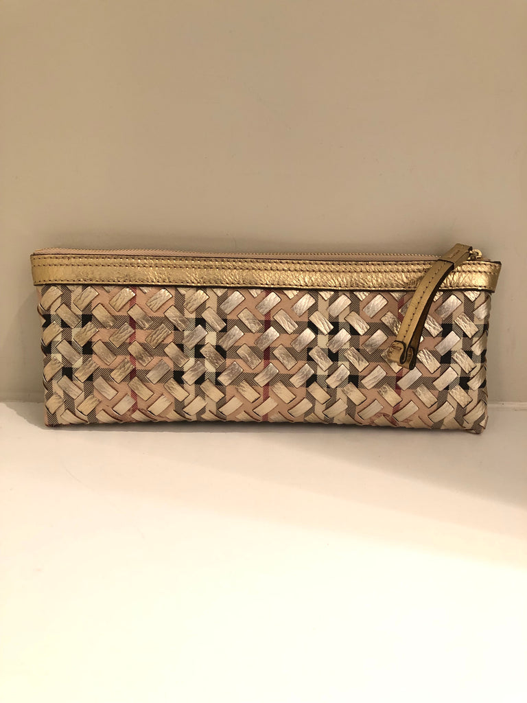 Nova Check Fabric and Gold Leather Wristlet by Burberry