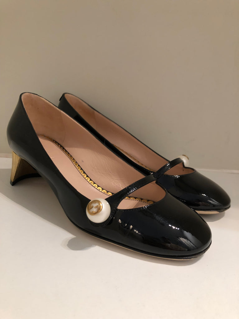 Arielle Patent Mary Jane Pumps by Gucci