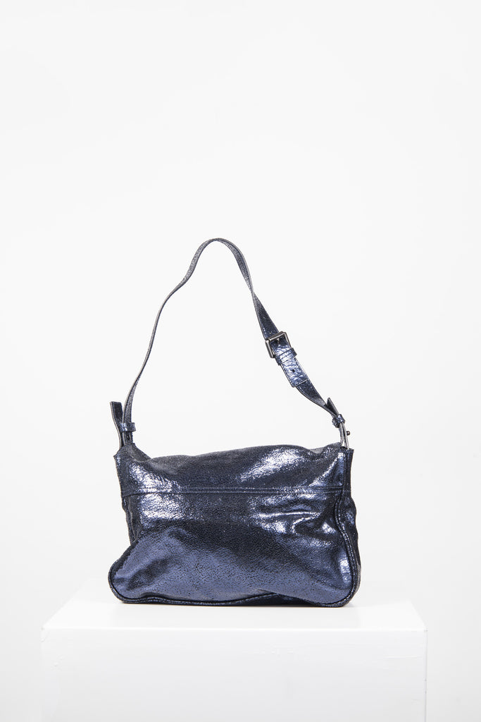 Bayswater metallic cracked leather shoulder bag by Mulberry