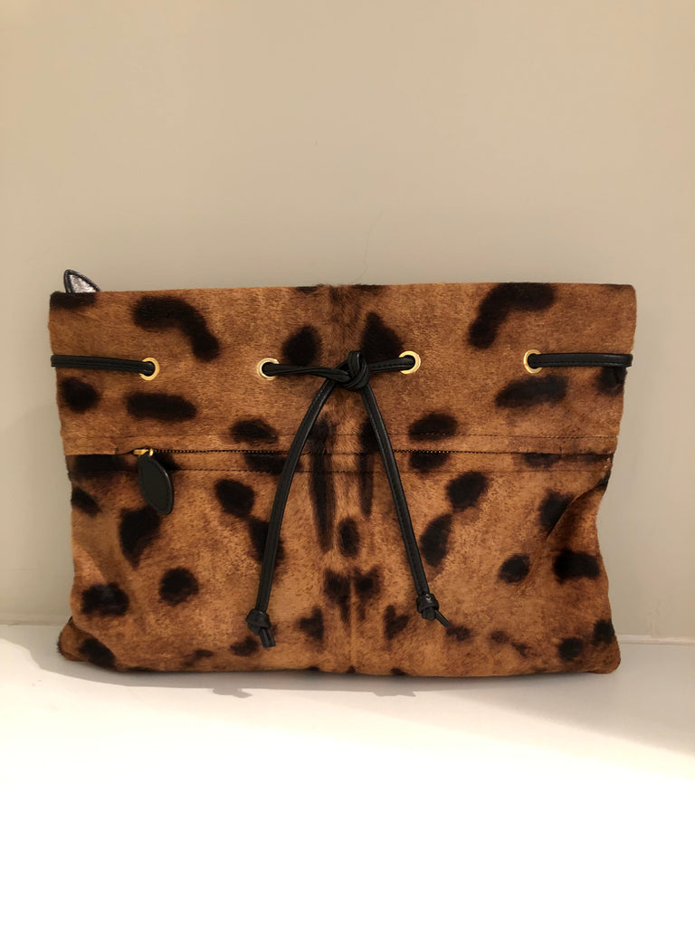 Leopard Print Calf Hair Paulie Clutch by Rochas