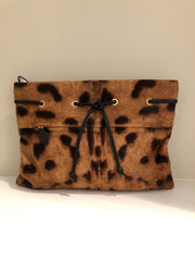 Leopard Print Calf Hair Paulie Clutch by Rochas at Isabella's Wardrobe