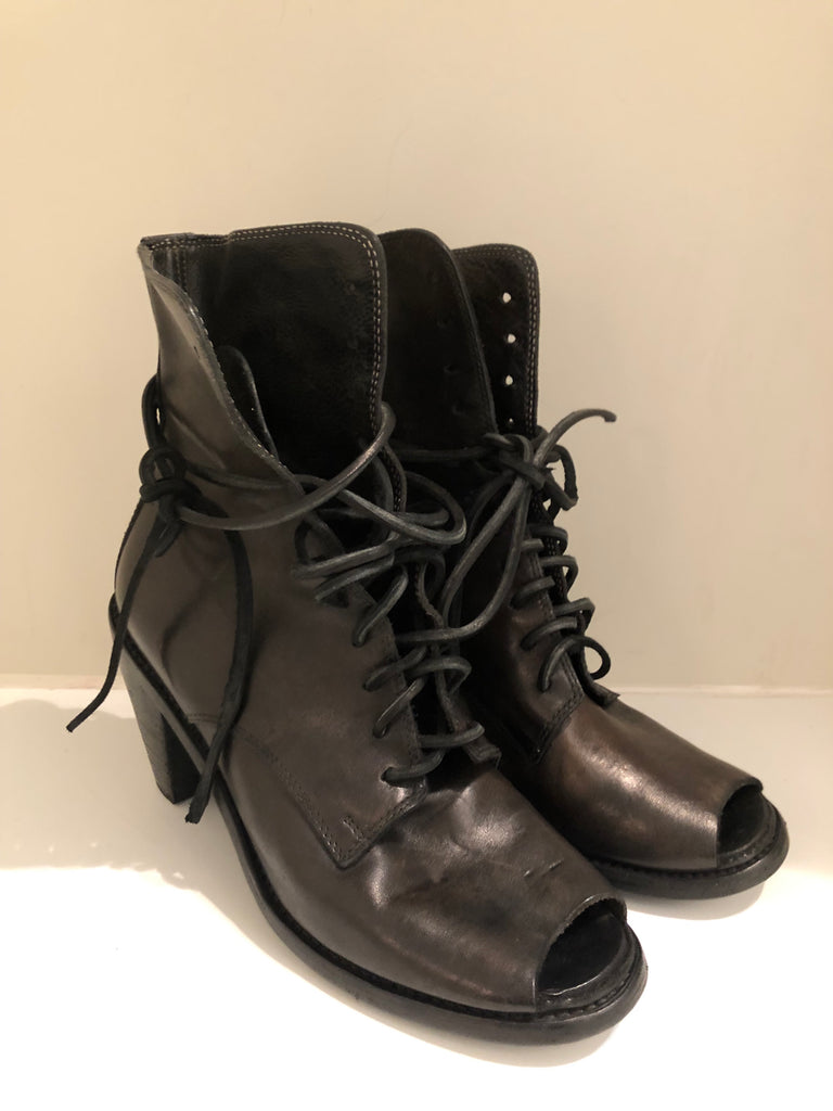 Handmade Peeptoe Ankle Boots by Guidi