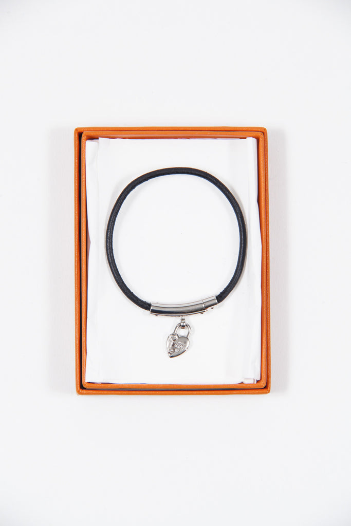 Leather bracelet with padlock by Hermes