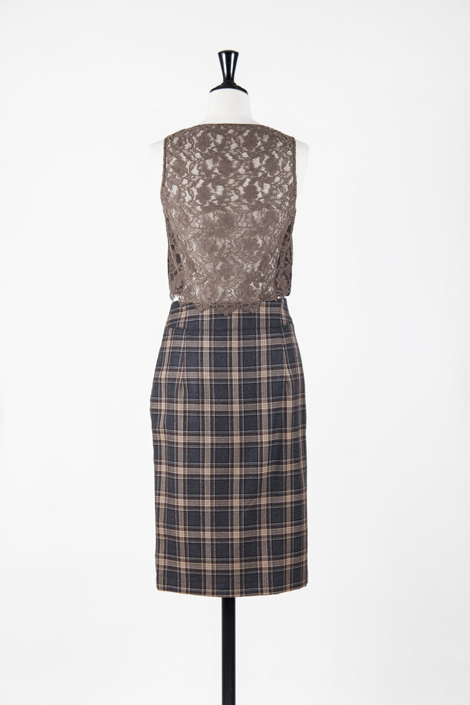 Plaid skirt and waistcoat by Red Valentino