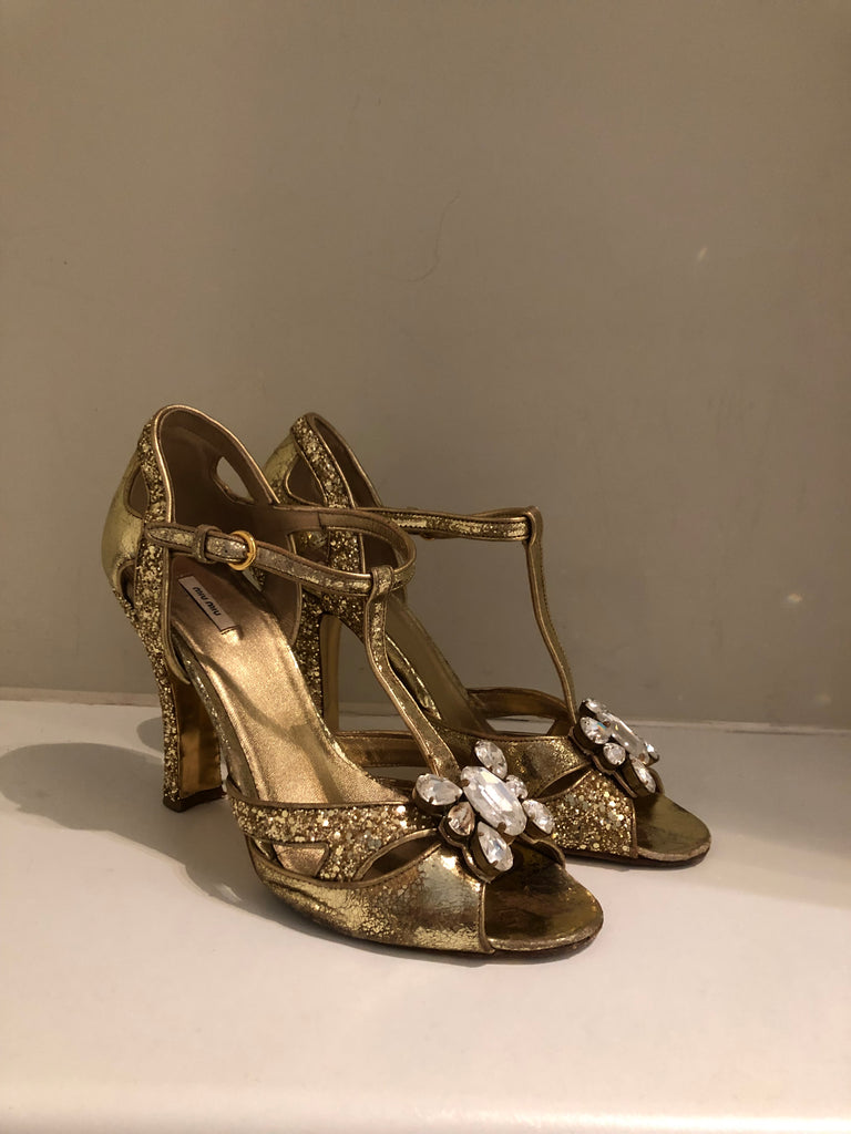 Glitter Jewel Sandals by Miu Miu