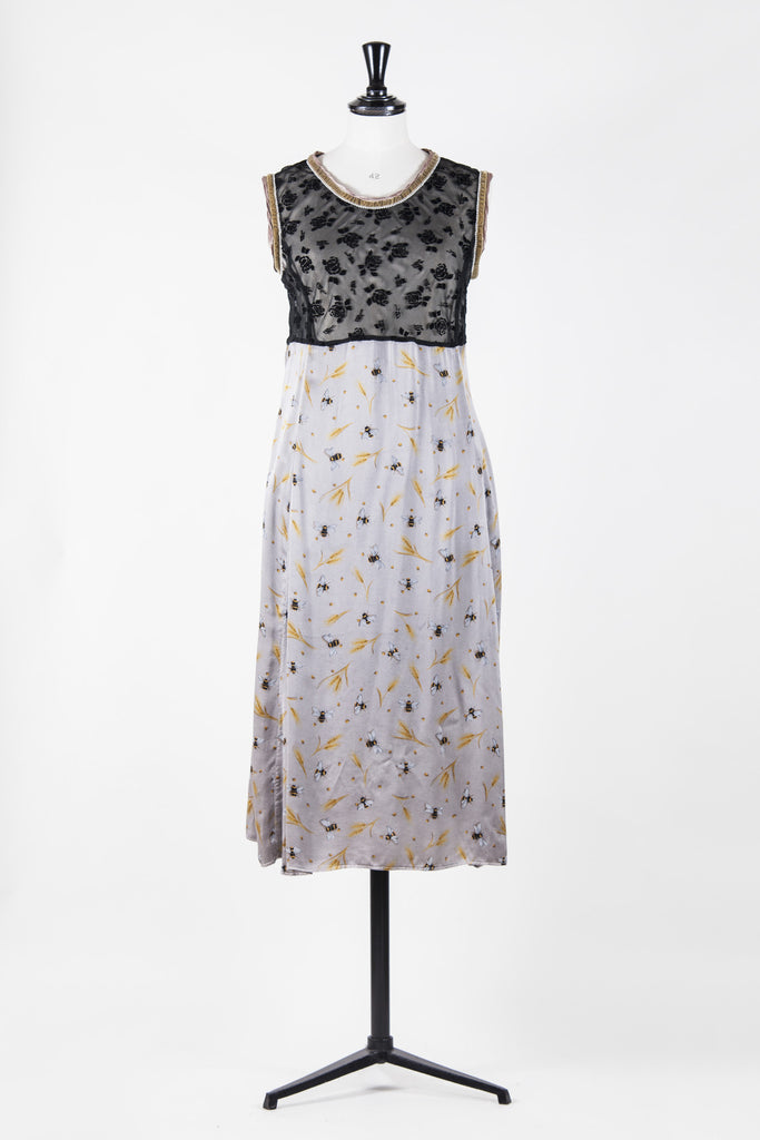 Vintage silk and velvet bumble bee dress by Voyage