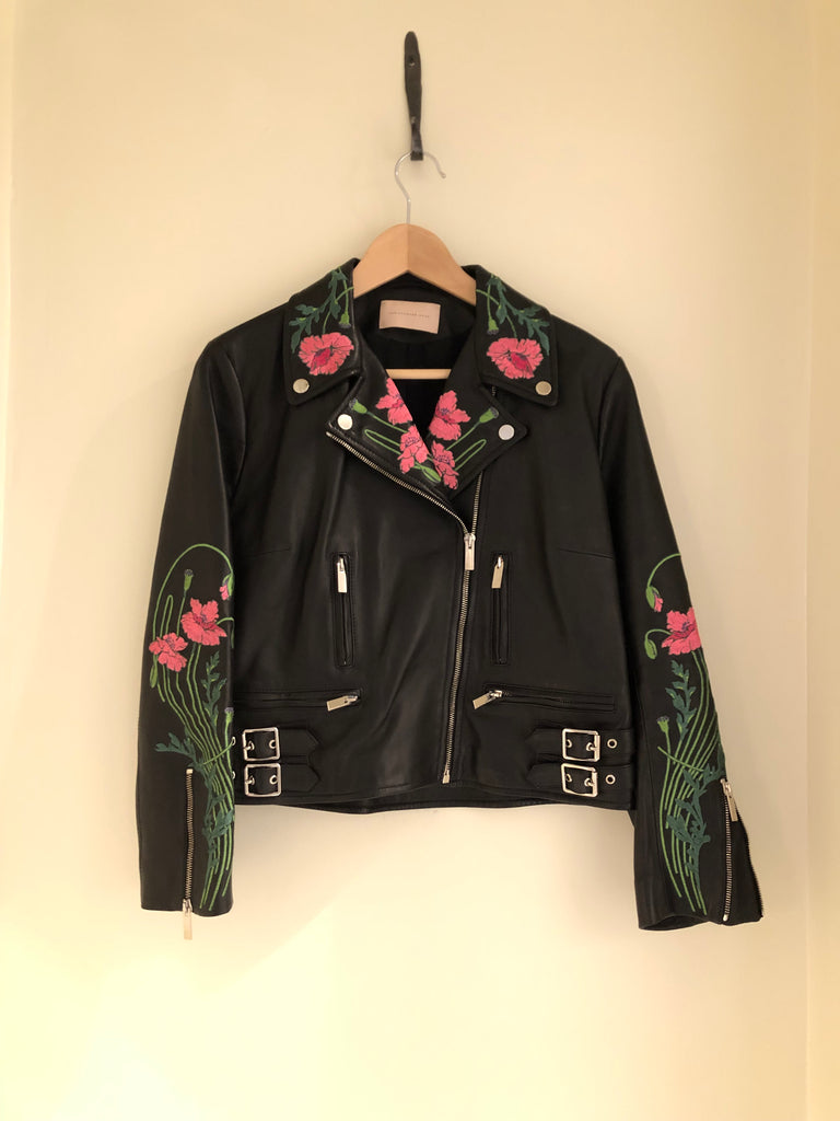 Floral Embroidered Leather Biker Jacket by Christopher Kane