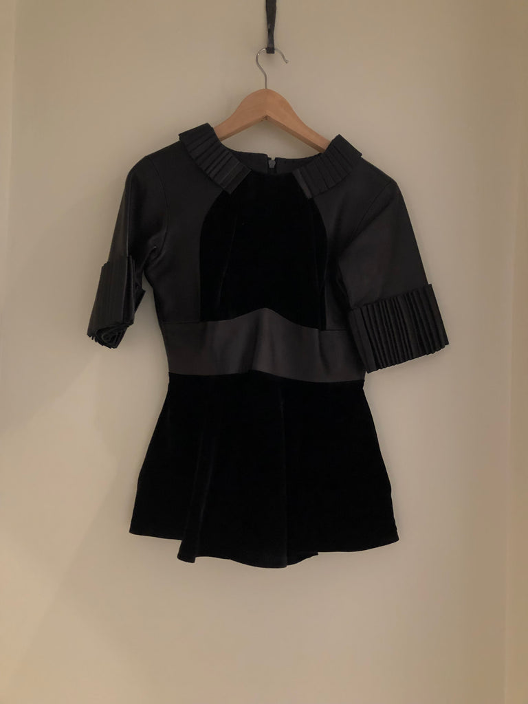 Velvet and Leather Top by Christopher Kane