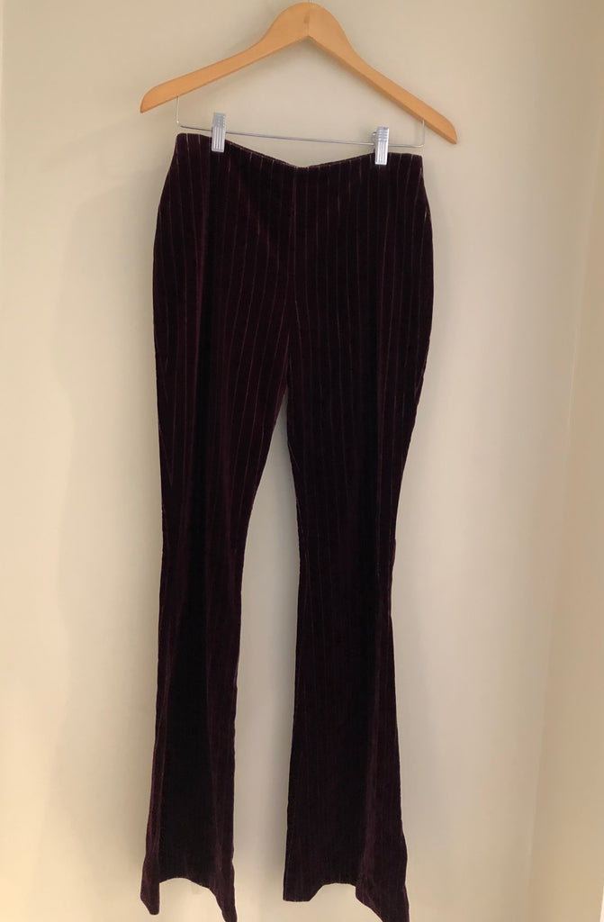 Velvet Pinstriped Flared Trousers by Voyage