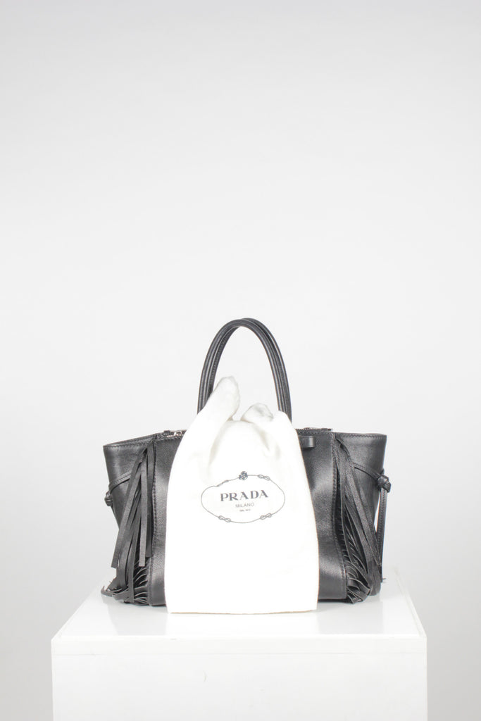 Glace Twin Pocket Fringed Bag by Prada