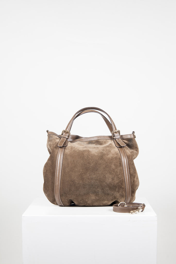 Suede and leather Britt bag by Gucci
