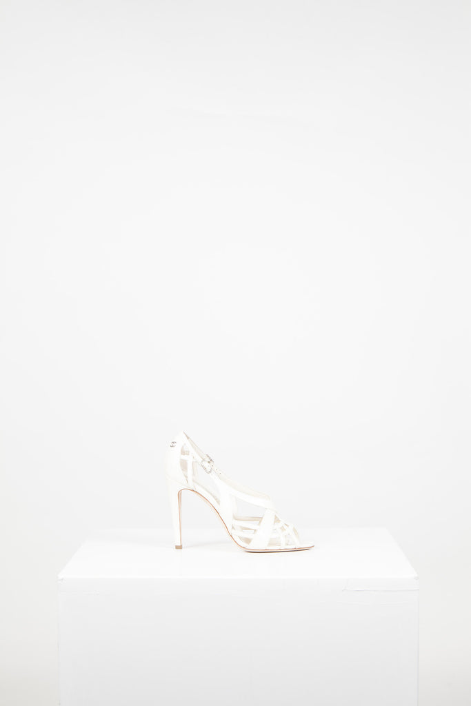 Criss-cross front peeptoe heels by Chanel