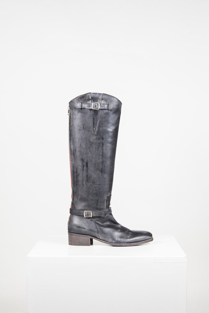 Erica distressed leather biker boots by Lama Peach