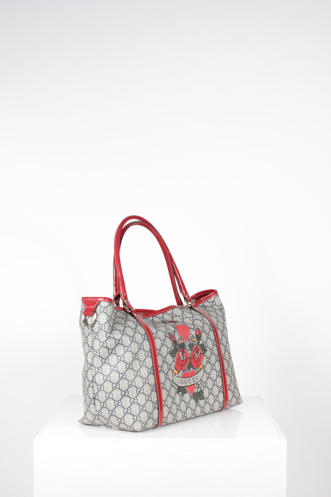 Tattoo Hearts Love Joy Tote by Gucci