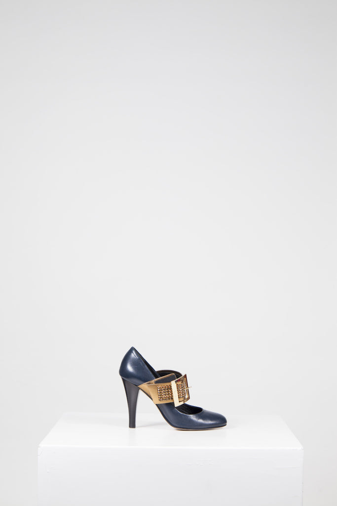 Round-toe heels with gold diamante strap by Gina