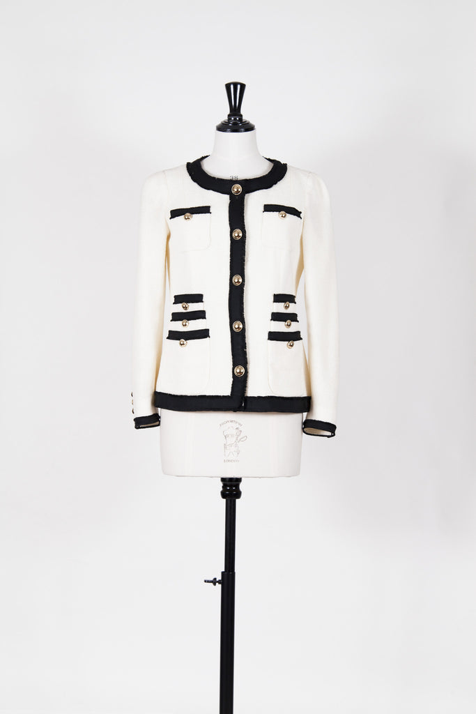 Collarless jacket with brass-effect buttons by Moschino Cheap and Chic
