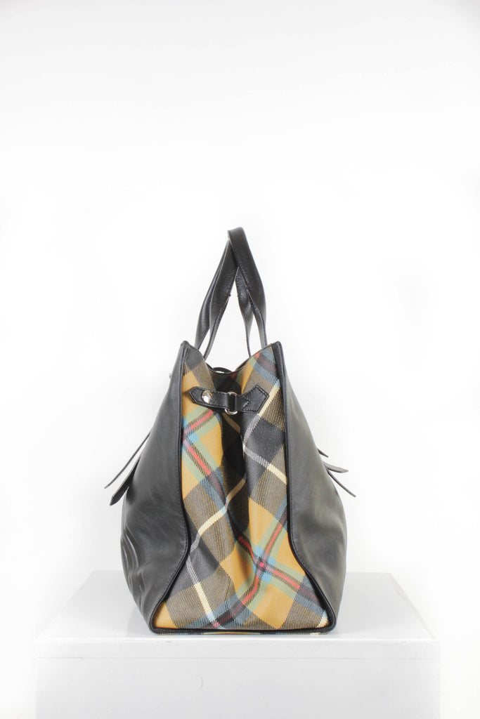 Black Leather and Tartan Travel Bag. by Vivienne Westwood