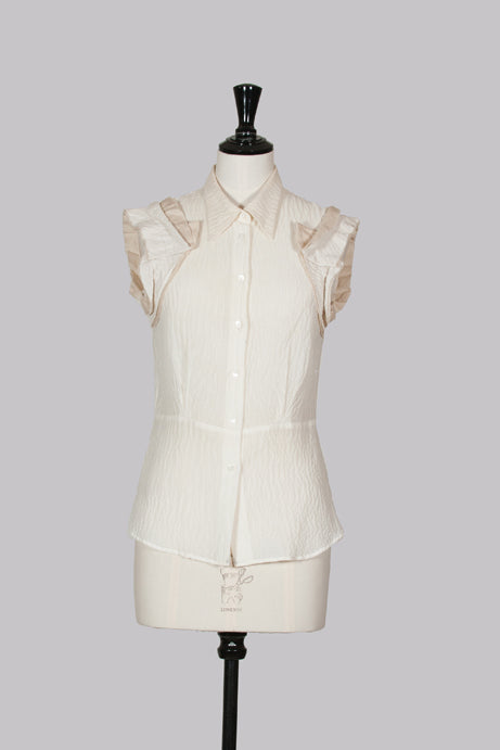 Ruffle trim top by Miu Miu