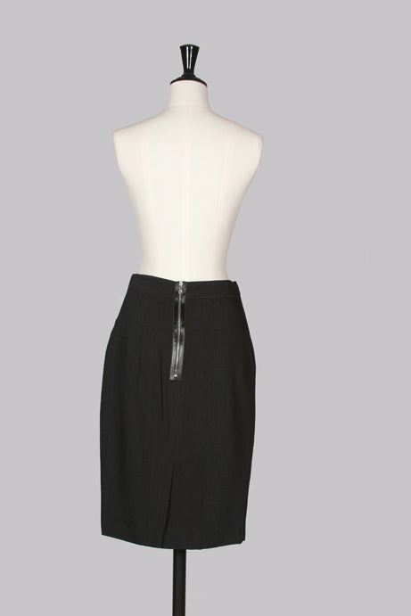 Straight skirt with satin trim zip by Dolce & Gabbana