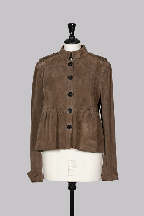 Lambskin suede peplum jacket by Burberry